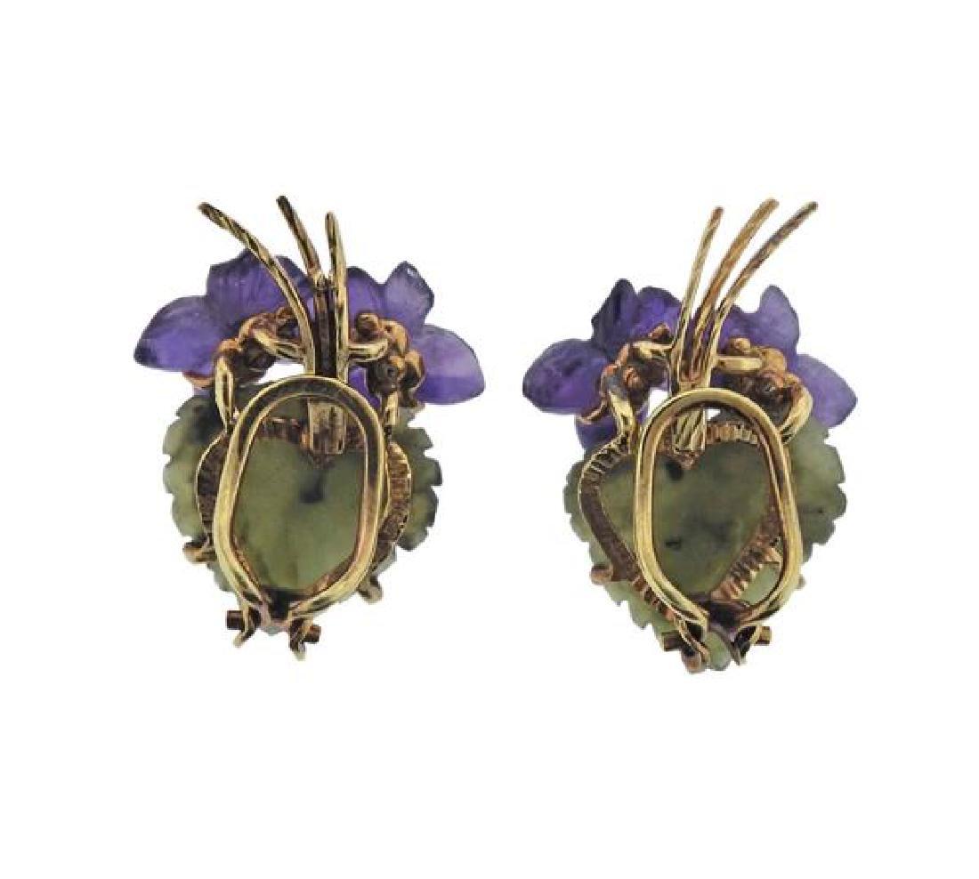 German Gold Diamond Nephrite Amethyst Brooch Earrings - 4