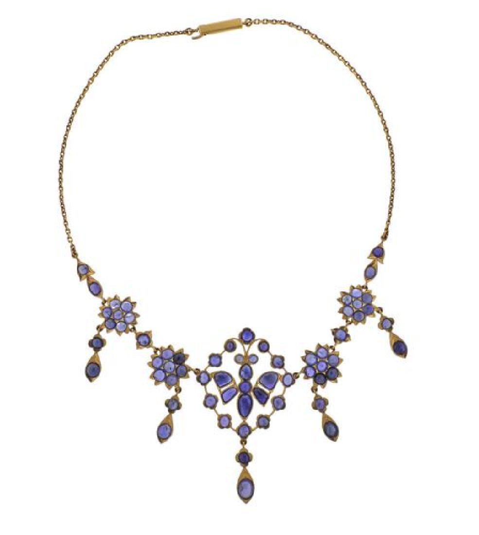 22K Gold 8.00ctw Sapphire Necklace