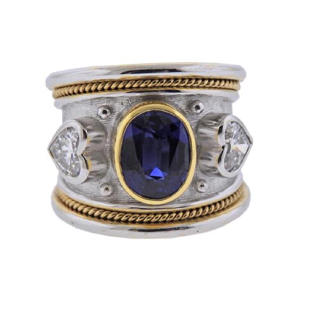Elizabeth Gage 18K Gold Diamond No Heat Sapphire Band