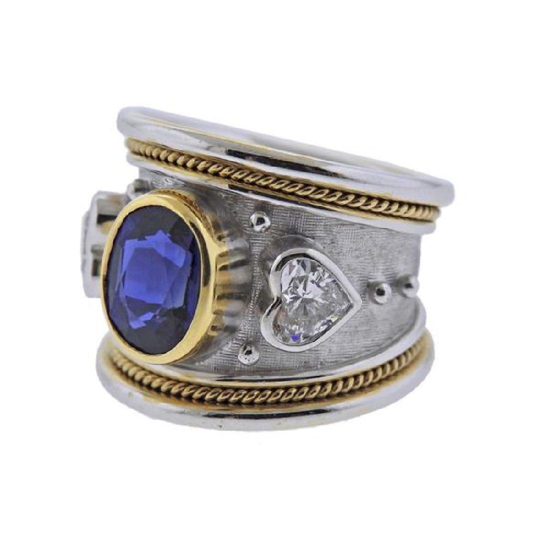 Elizabeth Gage 18K Gold Diamond No Heat Sapphire Band - 2