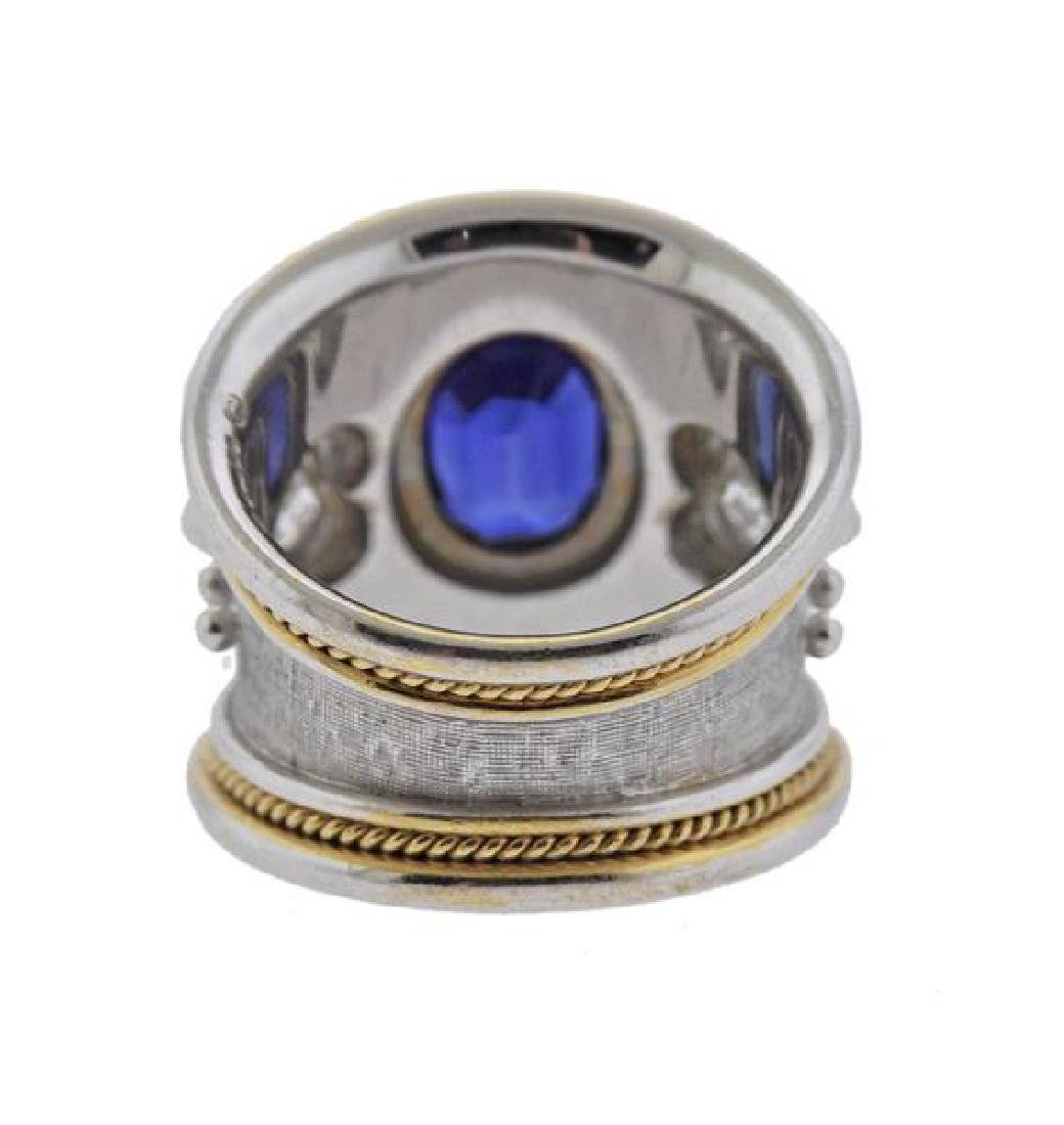 Elizabeth Gage 18K Gold Diamond No Heat Sapphire Band - 3