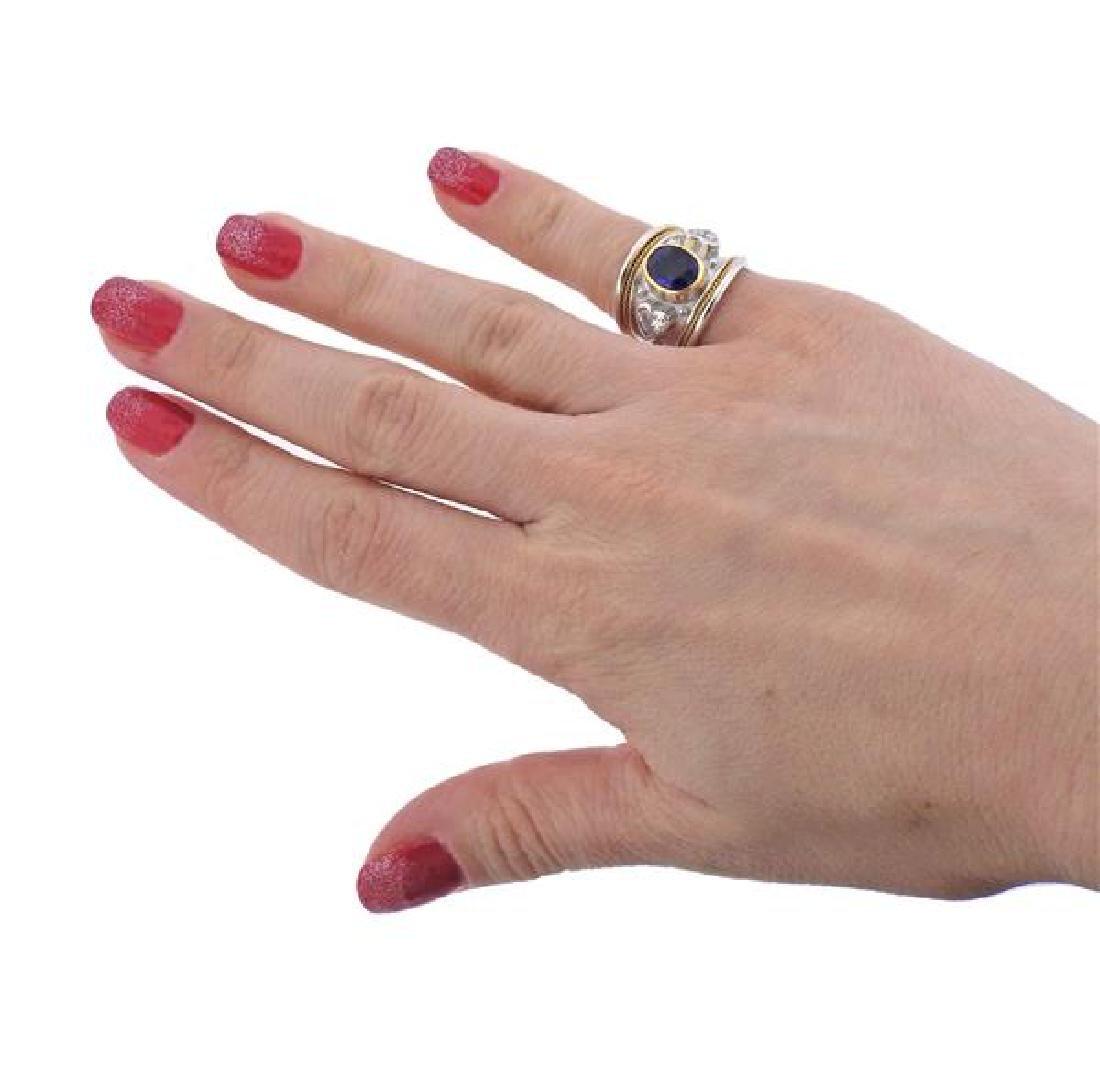 Elizabeth Gage 18K Gold Diamond No Heat Sapphire Band - 4