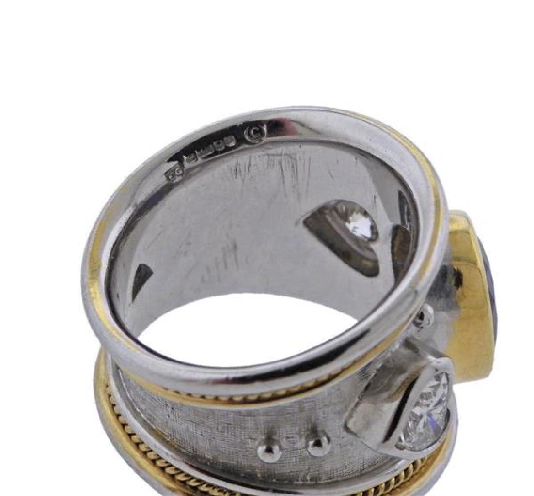 Elizabeth Gage 18K Gold Diamond No Heat Sapphire Band - 6