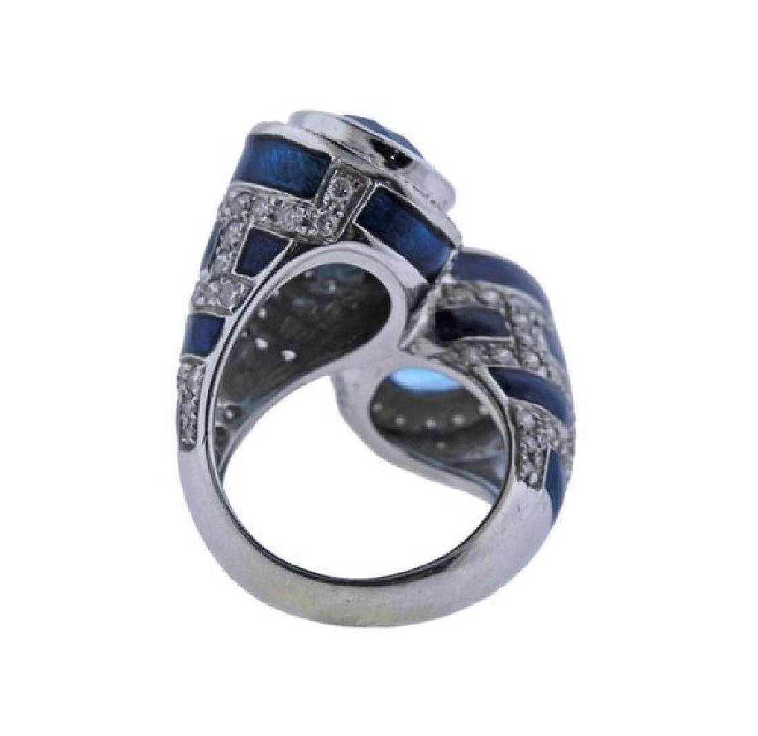 18K Gold Diamond Topaz Enamel Bypass Ring - 4