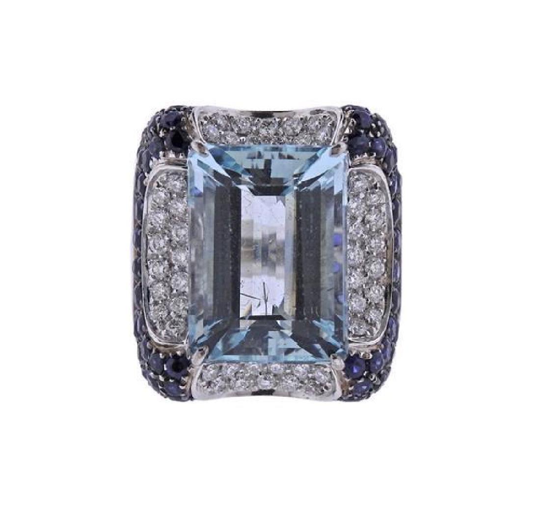 18K Gold Diamond Sapphire Aquamarine Cocktail Ring
