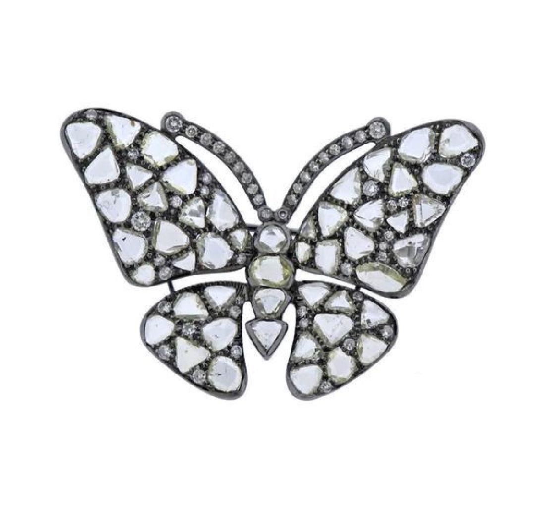 18K Gold Diamond Butterfly Brooch