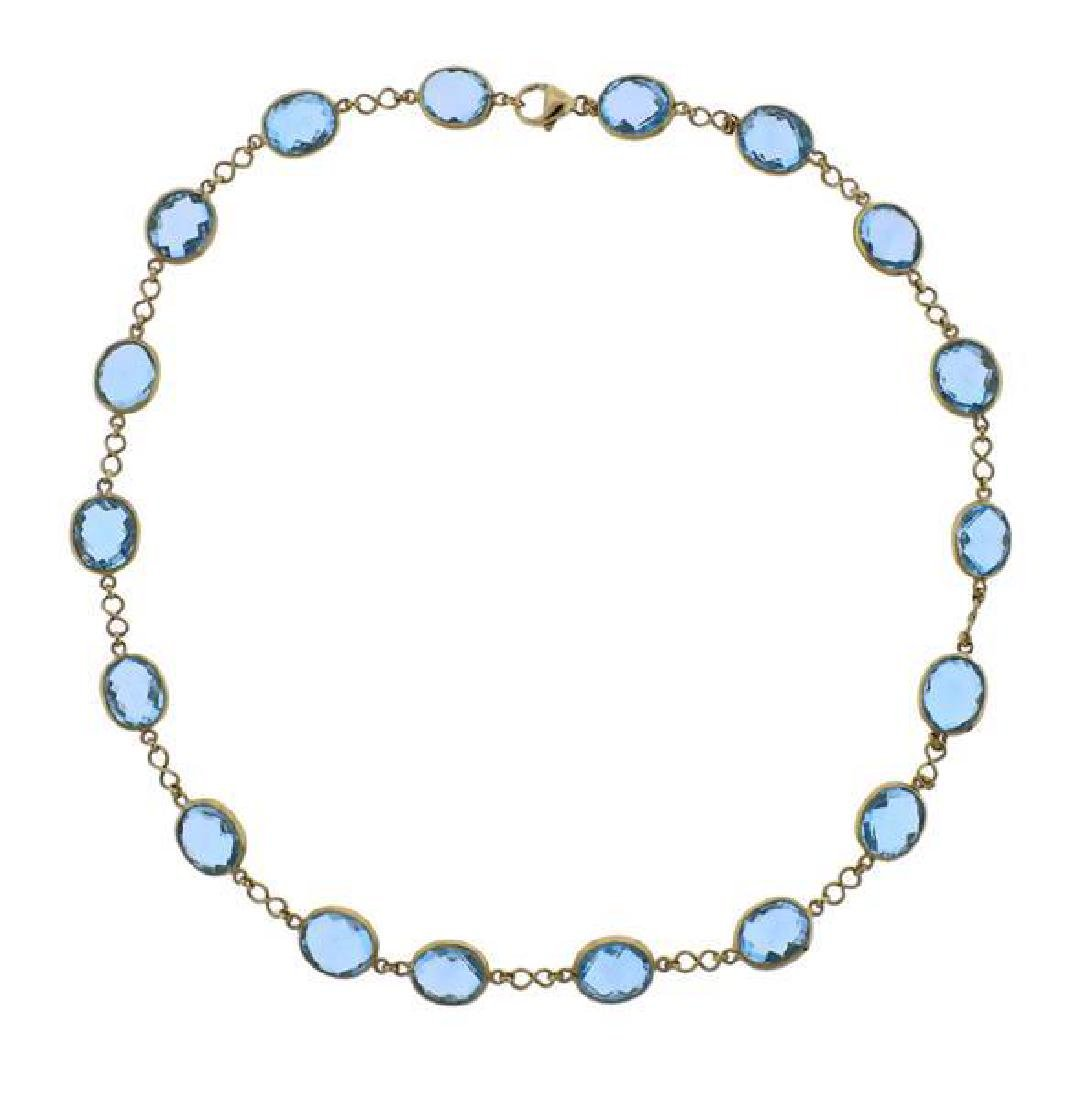 18K Gold Blue Gemstone Station Necklace