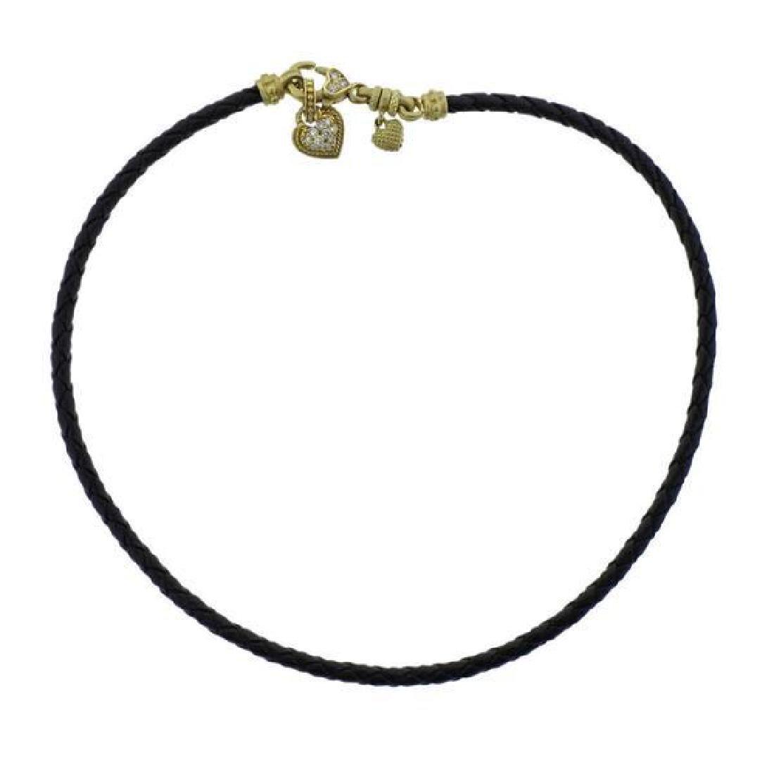 Judith Ripka 18K Gold Diamond Heart Charm Cord Necklace