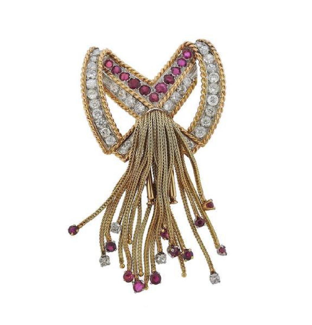 1960s 18k Gold Diamond Ruby Bow Tassel Brooch