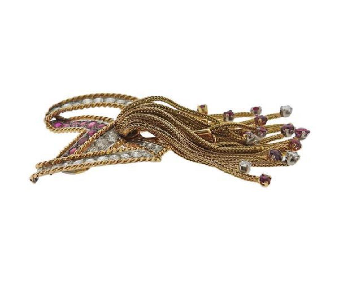 1960s 18k Gold Diamond Ruby Bow Tassel Brooch - 2