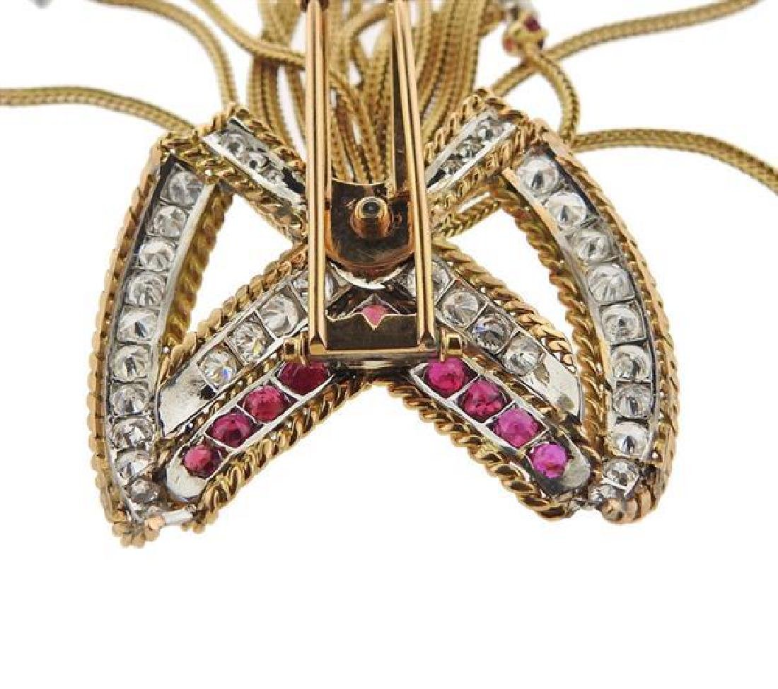 1960s 18k Gold Diamond Ruby Bow Tassel Brooch - 4