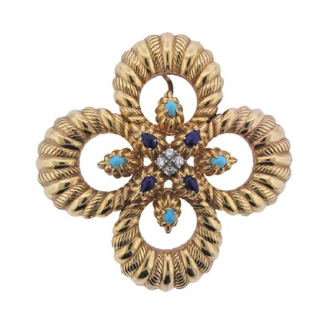Large 14K Gold Diamond Gemstone Brooch Pendant
