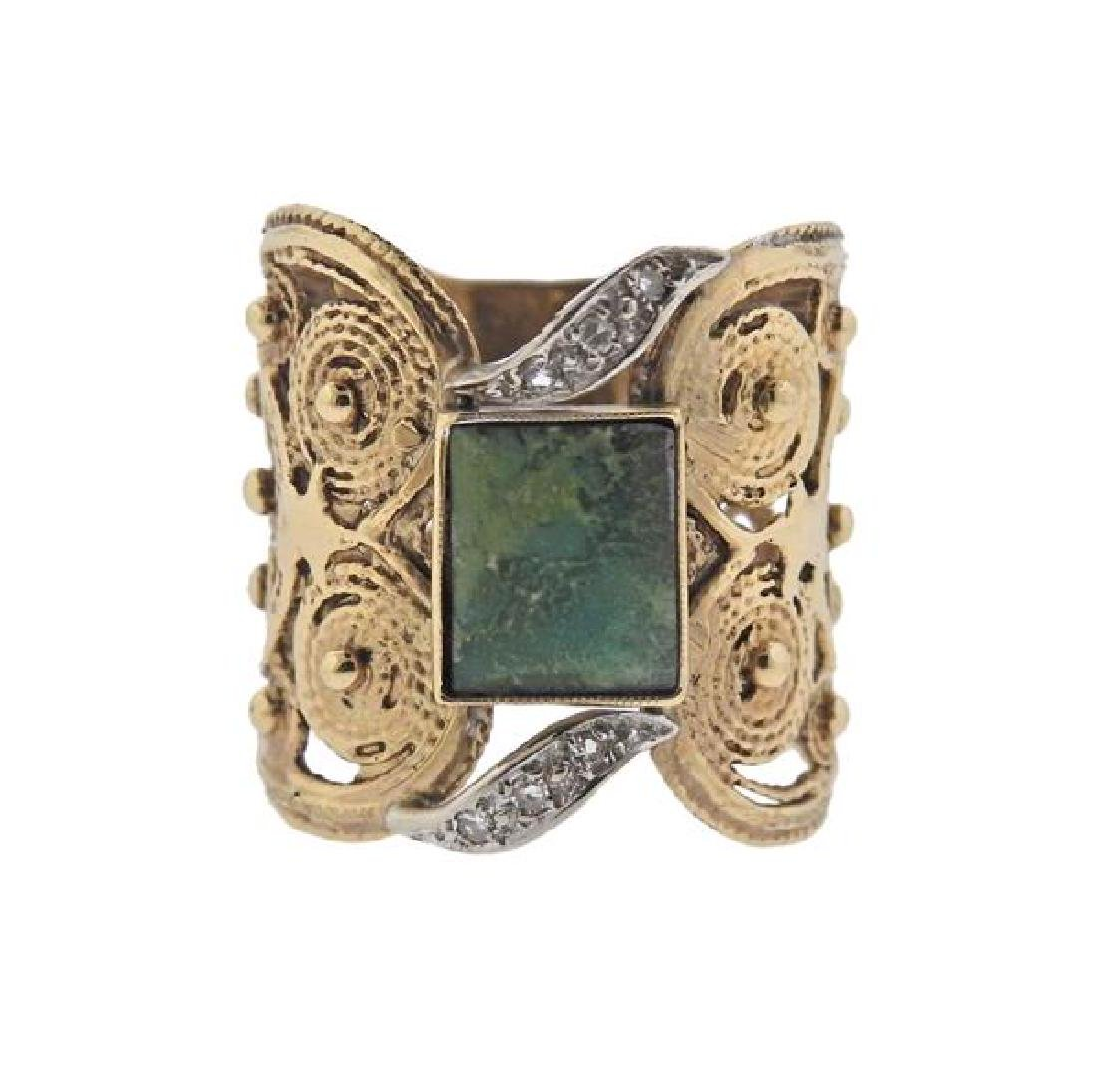 14K Gold Diamond Jade Wide Band Ring