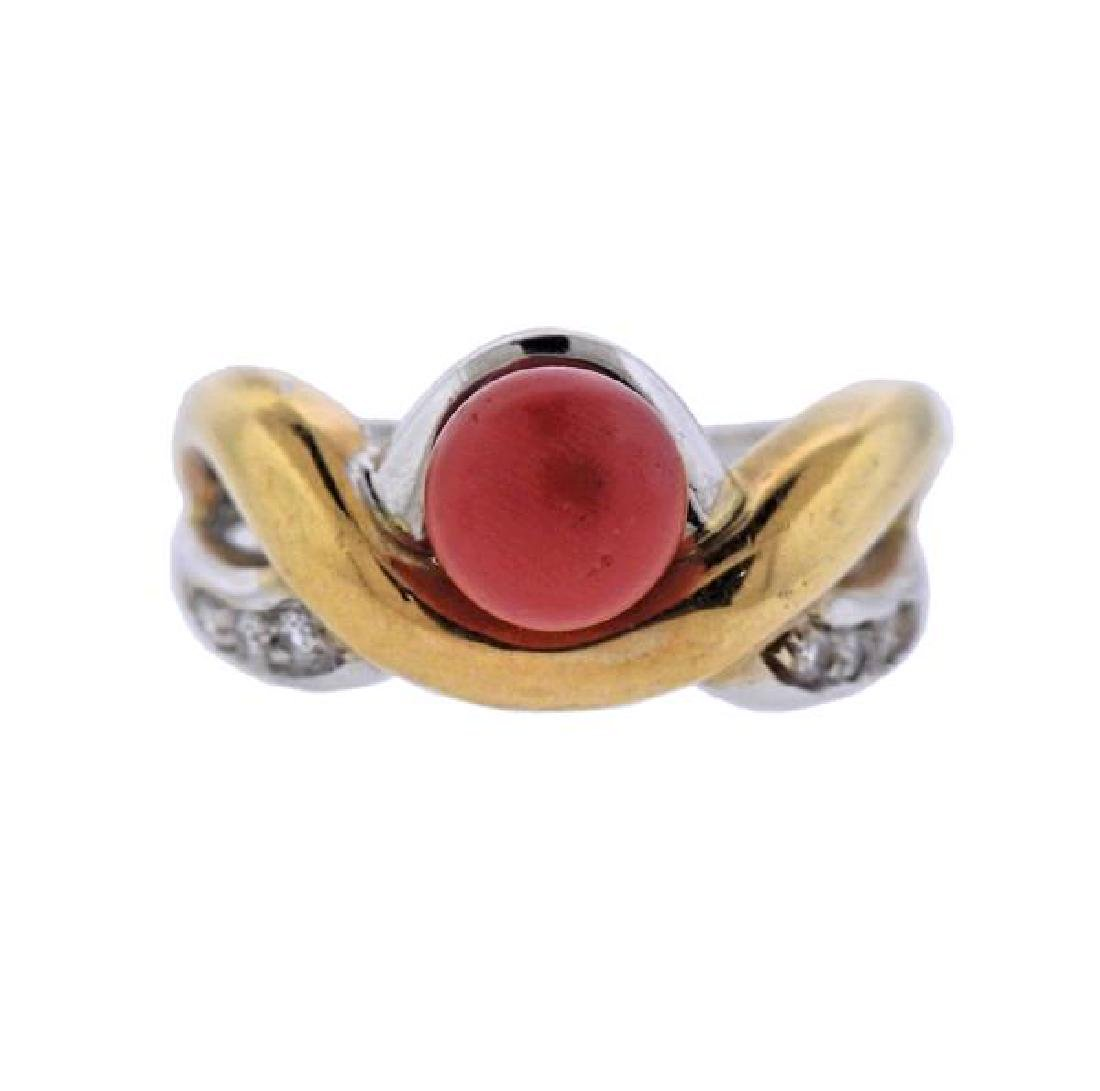 18K Gold Diamond Coral Ring