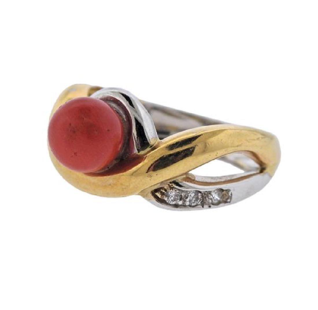 18K Gold Diamond Coral Ring - 2