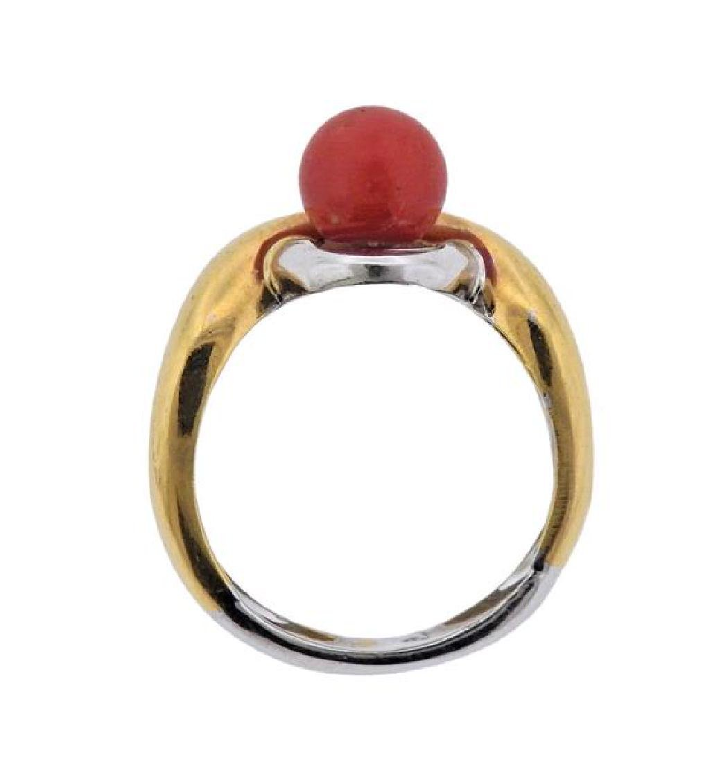 18K Gold Diamond Coral Ring - 3