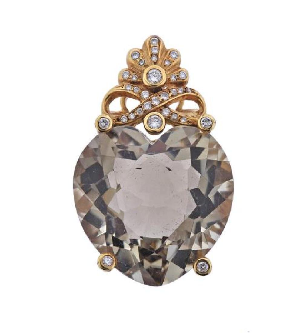 Large 18K Gold Diamond Topaz Heart Pendant