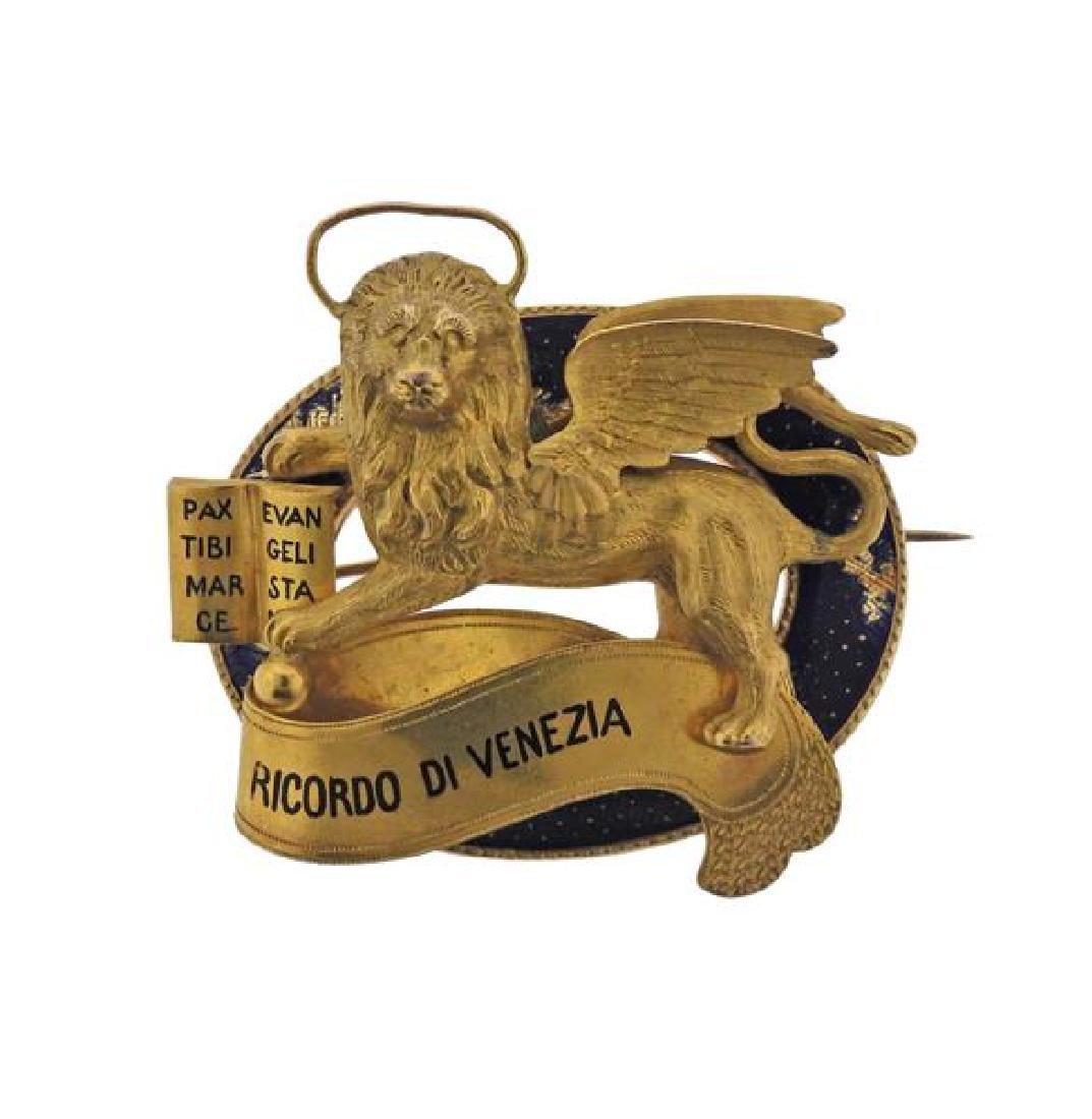 Antique 18K Gold Enamel Ricordo Di Venezia Lion Pin