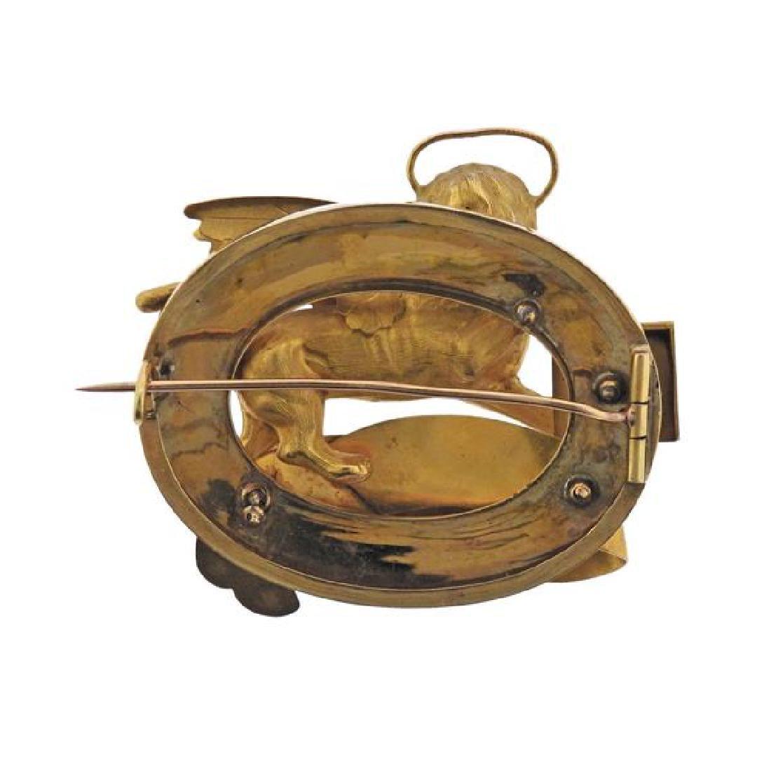 Antique 18K Gold Enamel Ricordo Di Venezia Lion Pin - 3