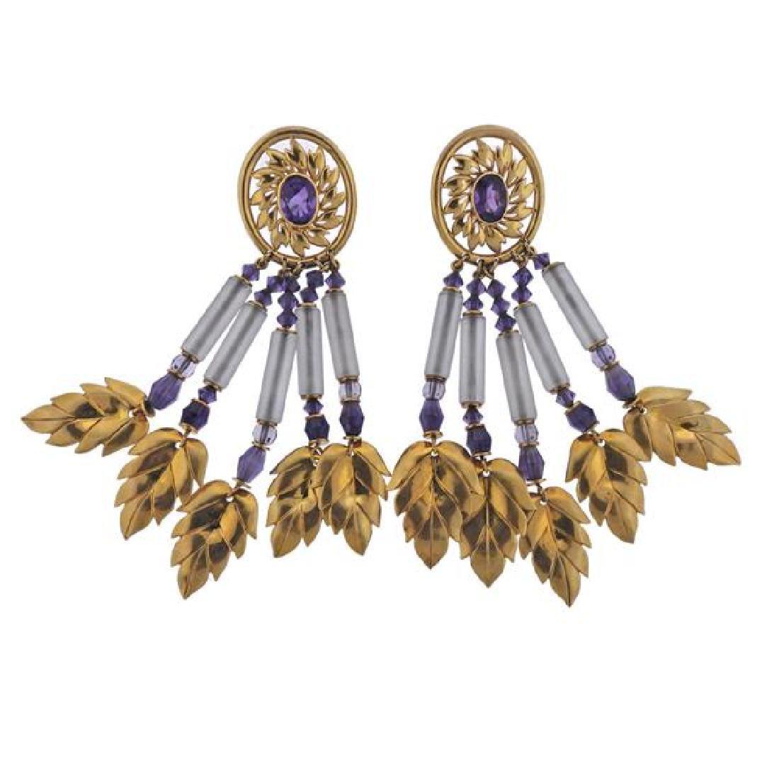 18K Gold Amethyst Crystal Dangle Leaf Earrings