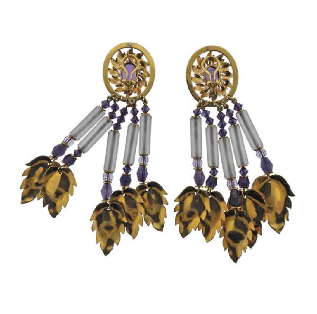 18K Gold Amethyst Crystal Dangle Leaf Earrings - 2