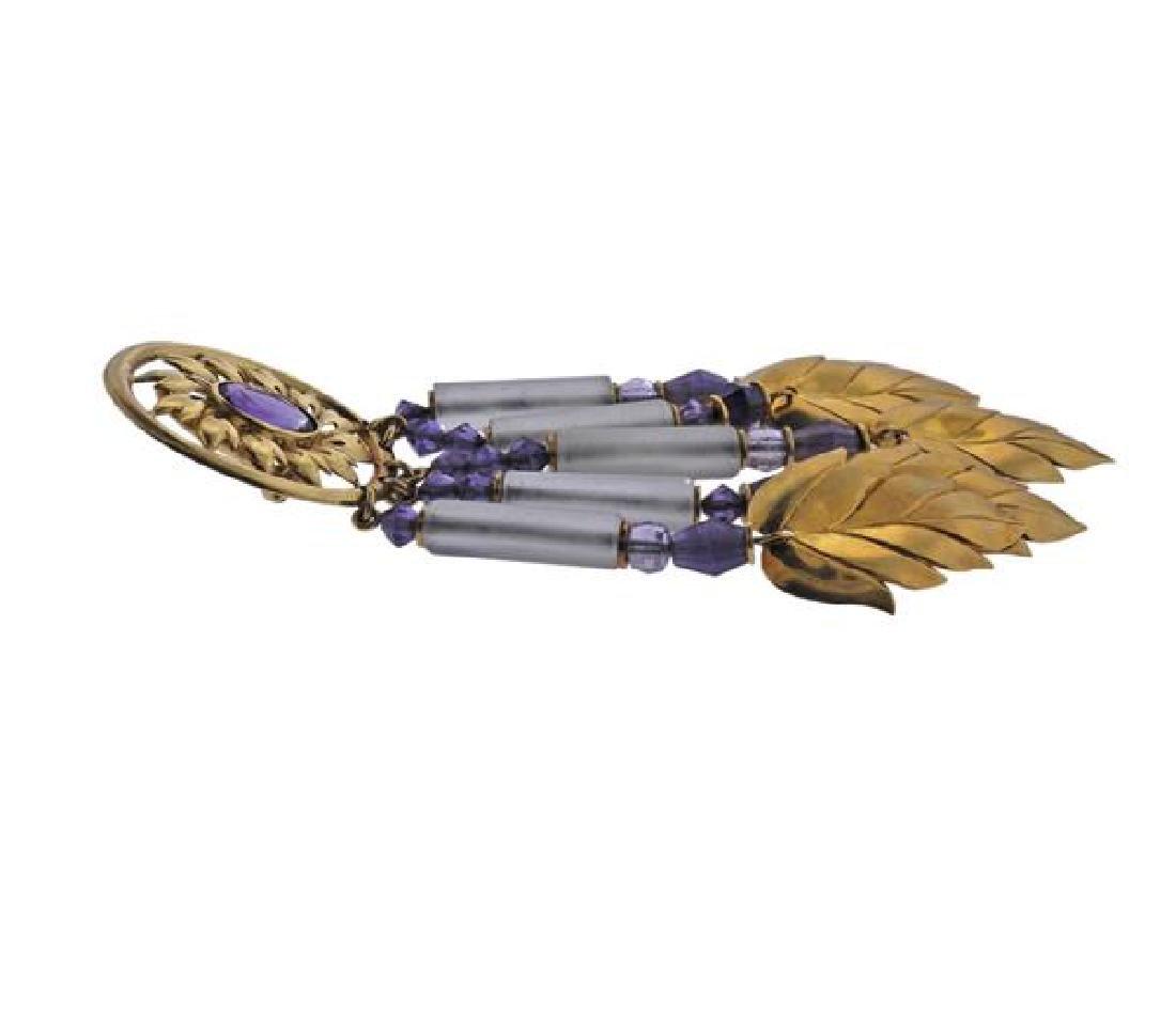 18K Gold Amethyst Crystal Dangle Leaf Earrings - 3