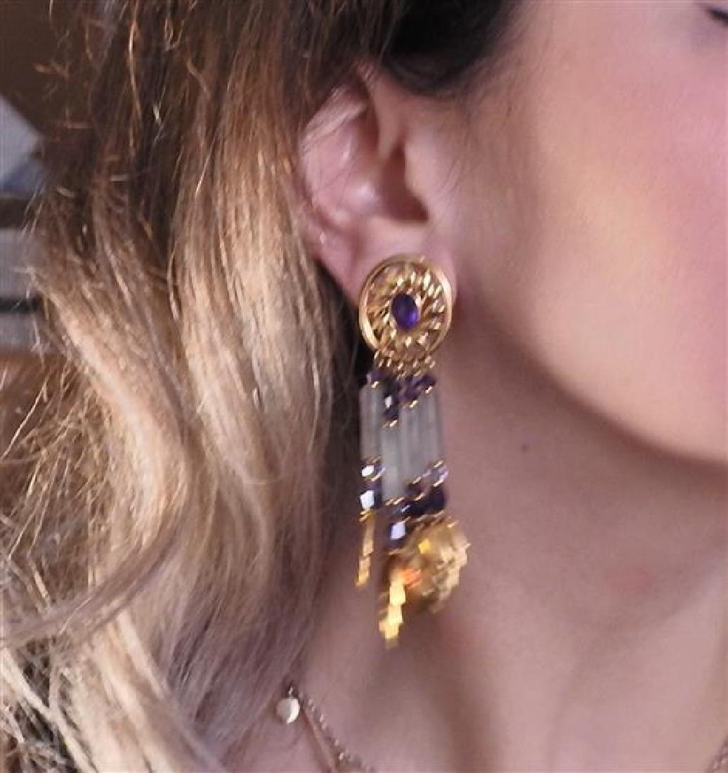 18K Gold Amethyst Crystal Dangle Leaf Earrings - 4
