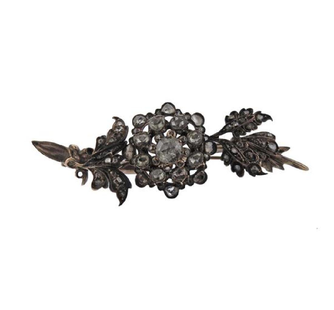 Antique 14K Gold Diamond Flower Brooch Pin