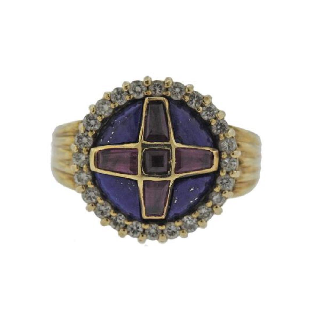 14K Gold Diamond Ruby Lapis Ring