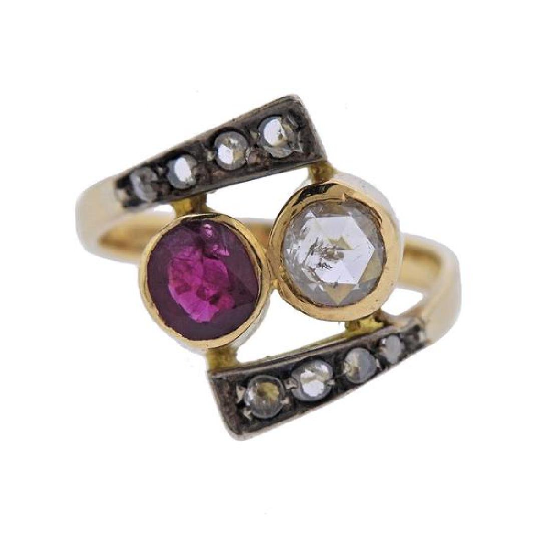 Antique 18K Gold Diamond Ruby Bypass Ring