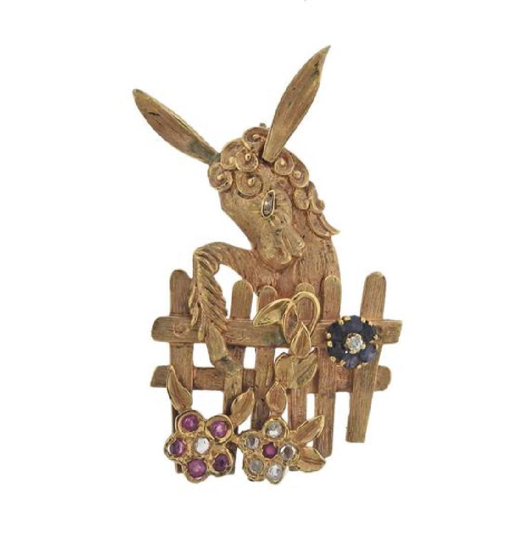14K Gold Diamond Ruby Sapphire Donkey Brooch