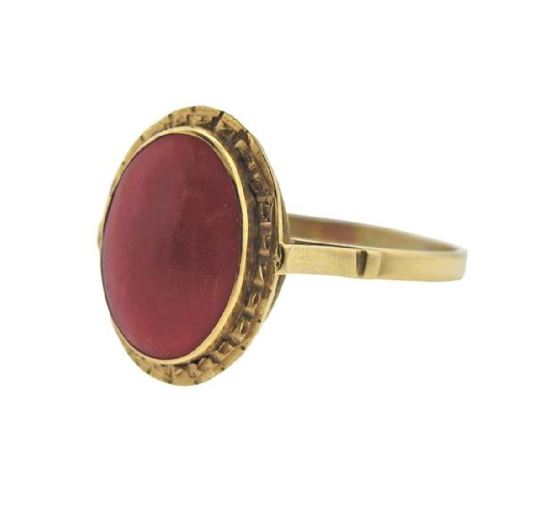 14K Gold Coral Ring - 2