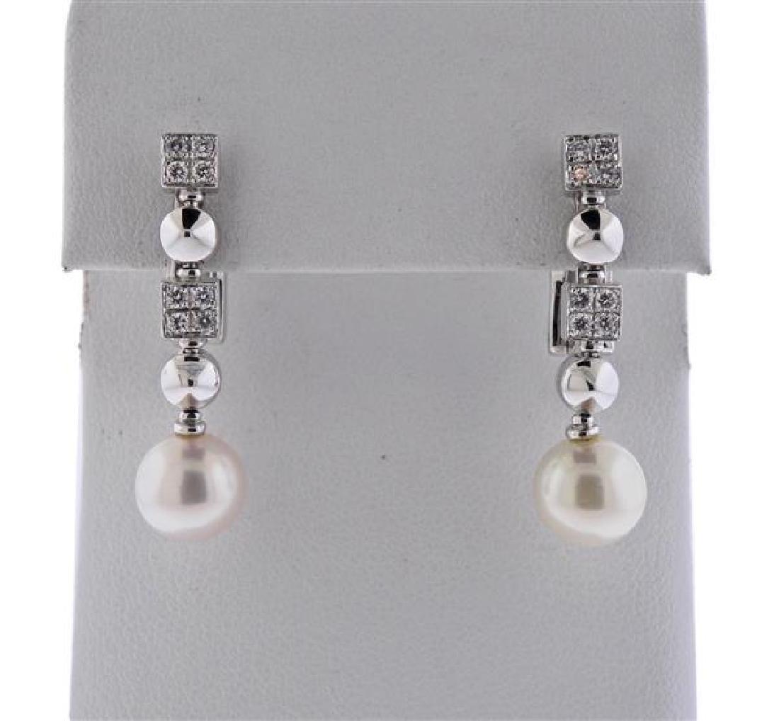 Bulgari Bvlgari Lucea 18K Gold Diamond Pearl Earrings