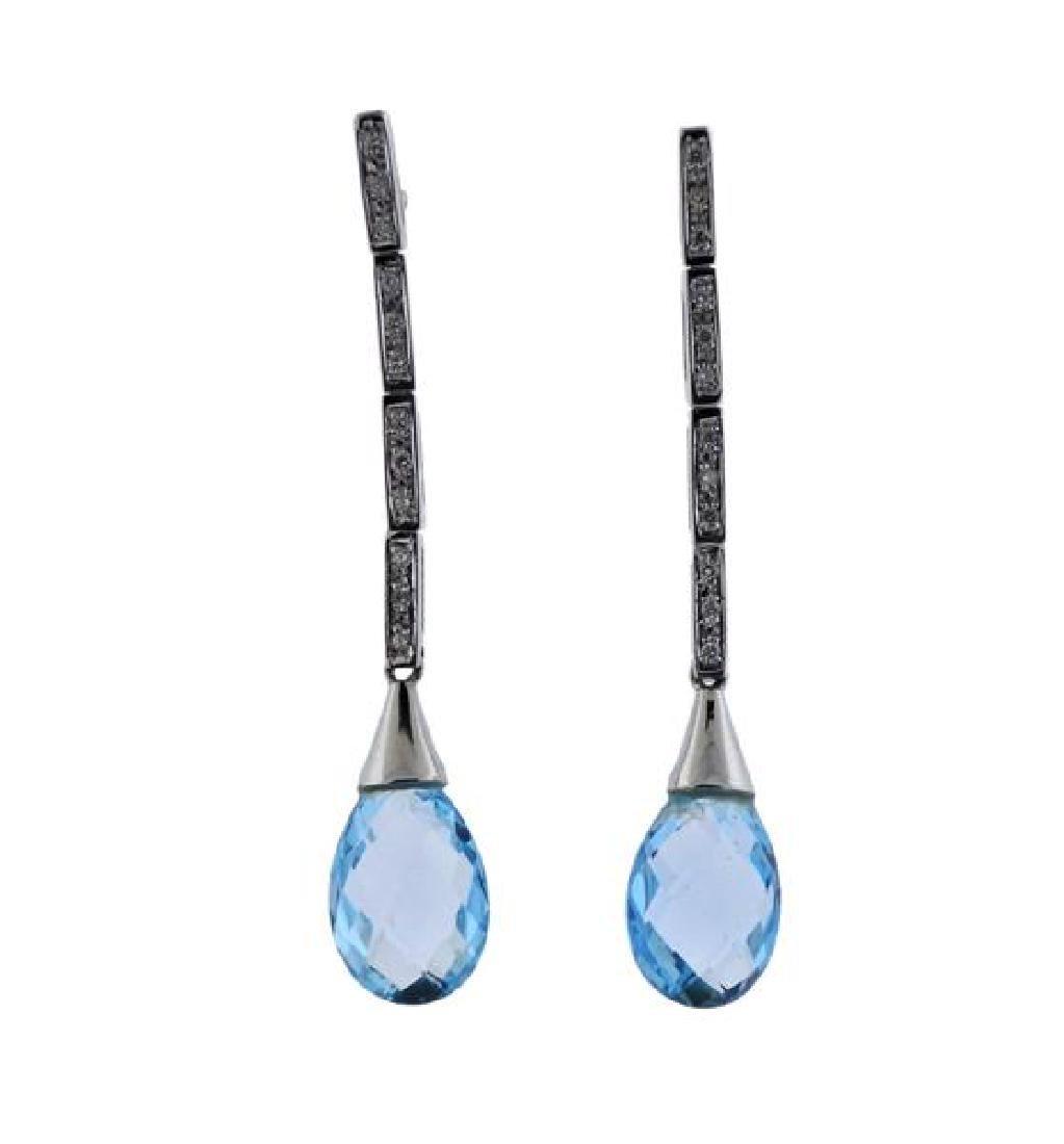 18K Gold Diamond Topaz Drop Earrings