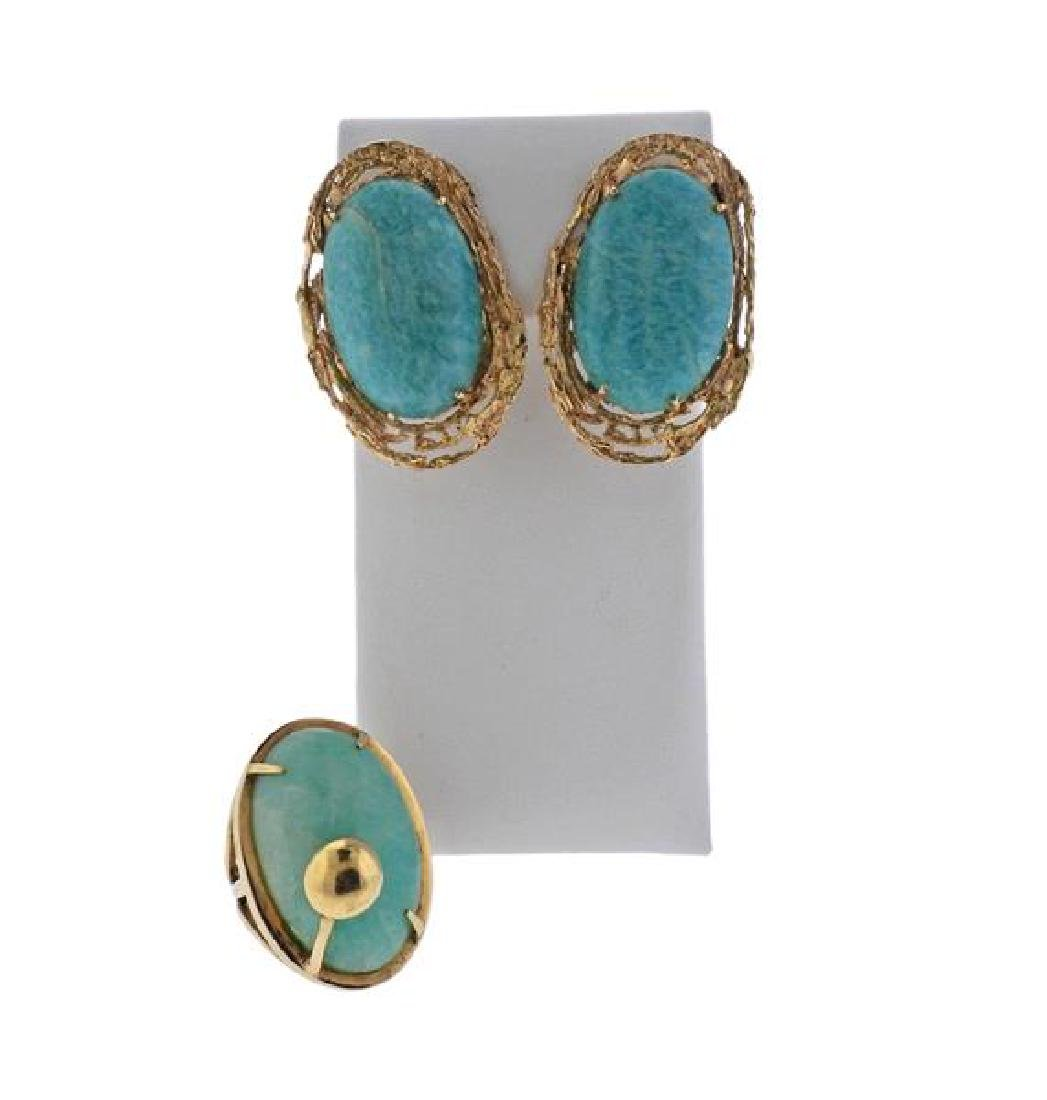 14K Gold Blue Stone Earrings Ring Lot