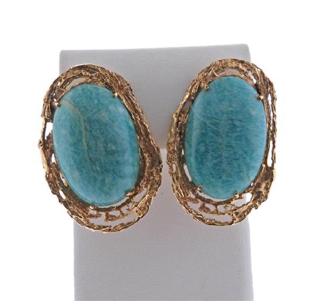 14K Gold Blue Stone Earrings Ring Lot - 2