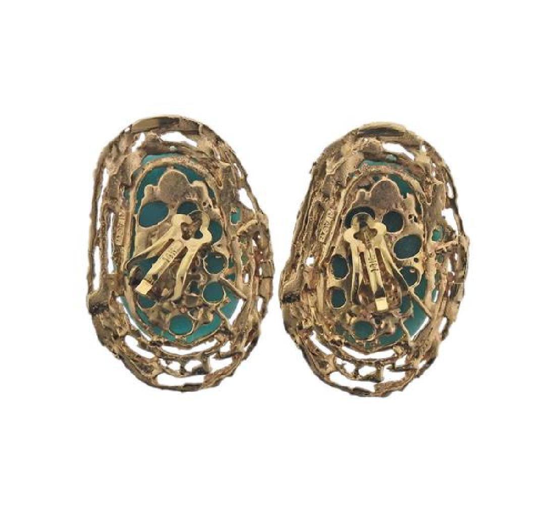 14K Gold Blue Stone Earrings Ring Lot - 3