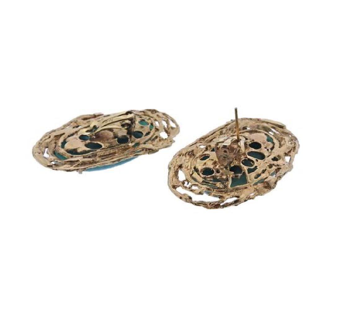 14K Gold Blue Stone Earrings Ring Lot - 4