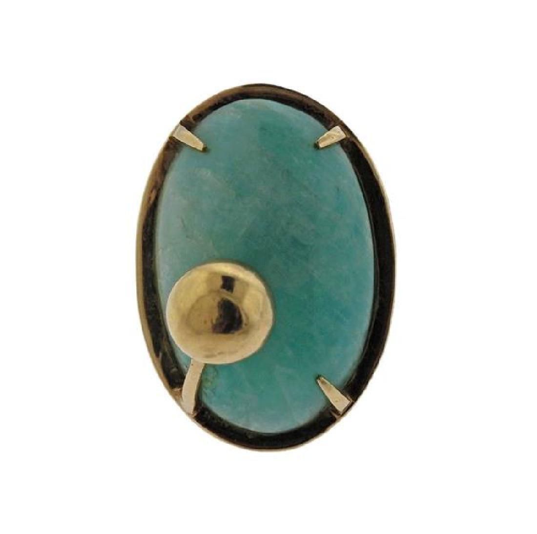 14K Gold Blue Stone Earrings Ring Lot - 5