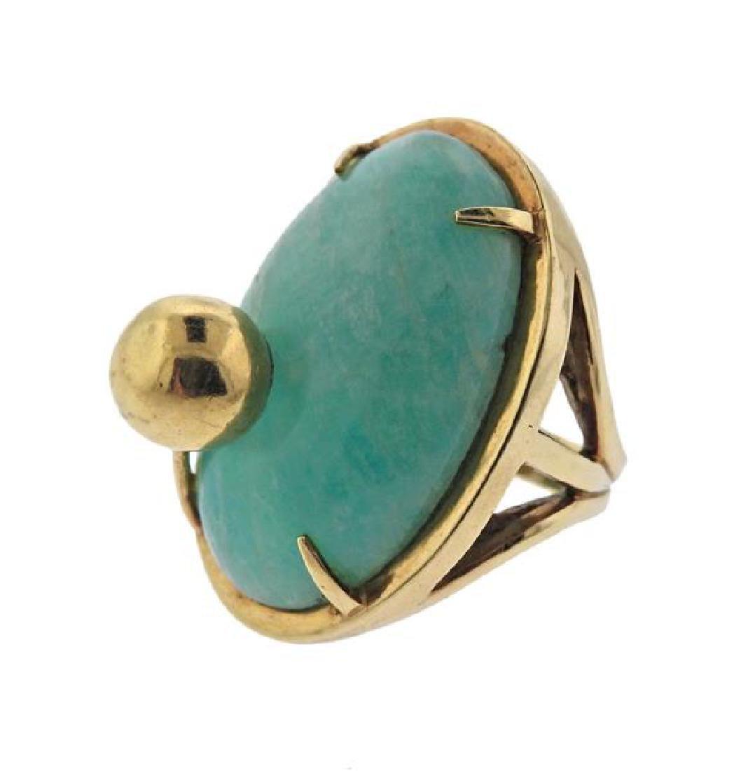 14K Gold Blue Stone Earrings Ring Lot - 6