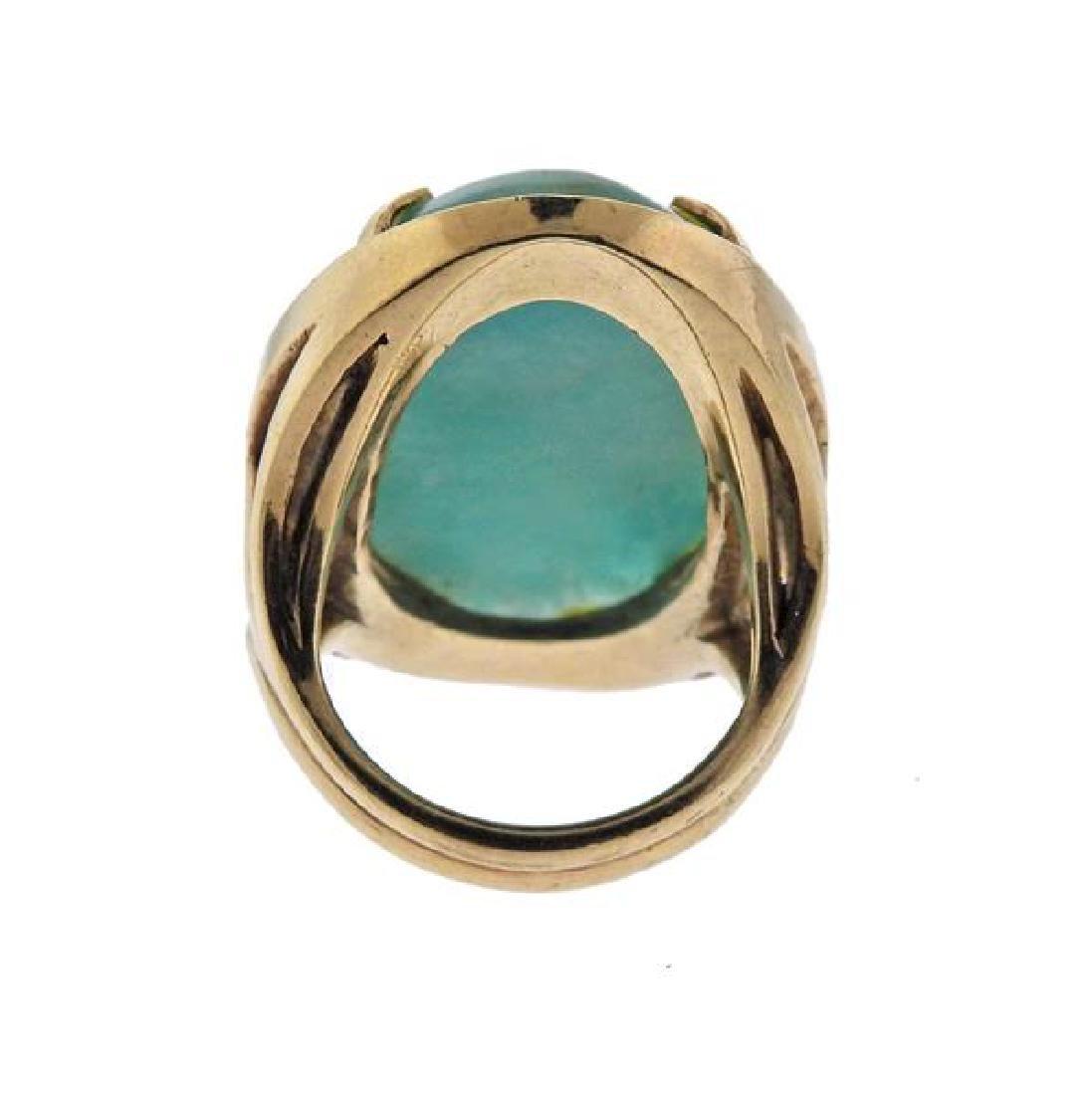 14K Gold Blue Stone Earrings Ring Lot - 7