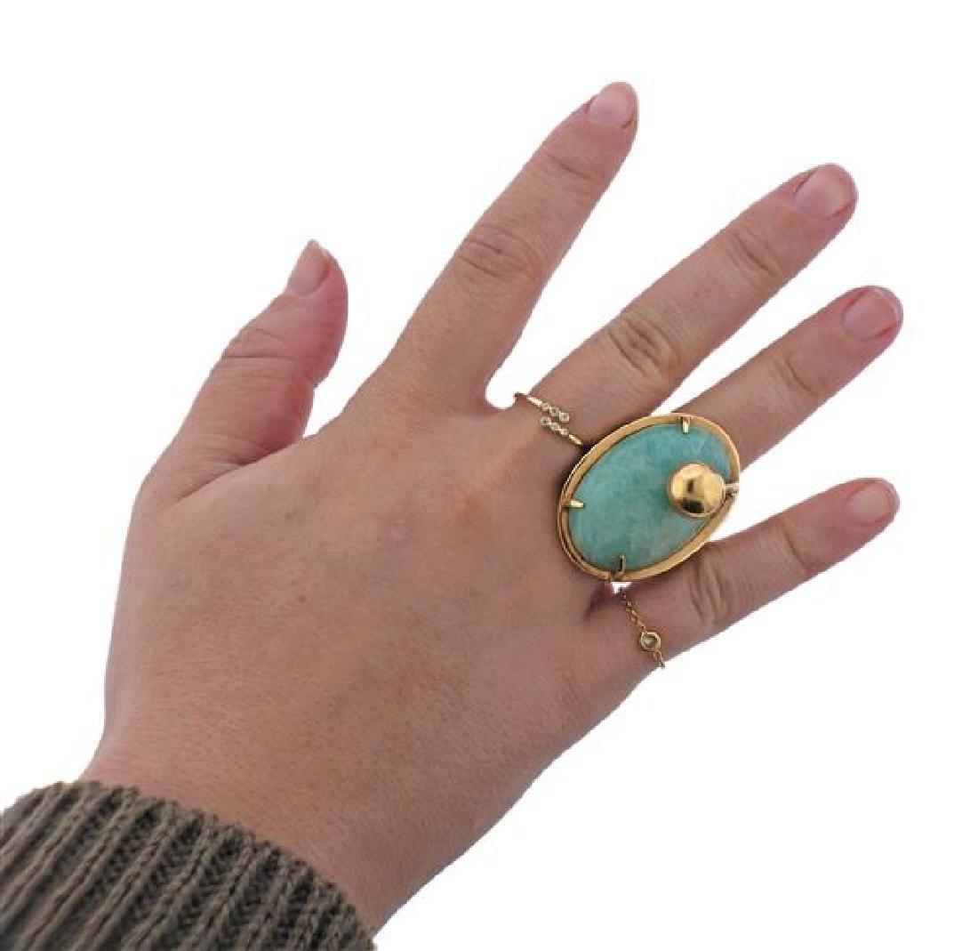 14K Gold Blue Stone Earrings Ring Lot - 8