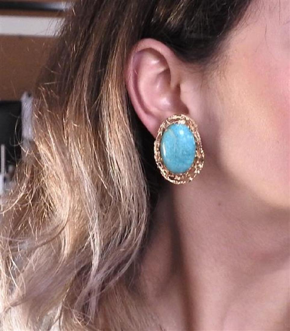 14K Gold Blue Stone Earrings Ring Lot - 9