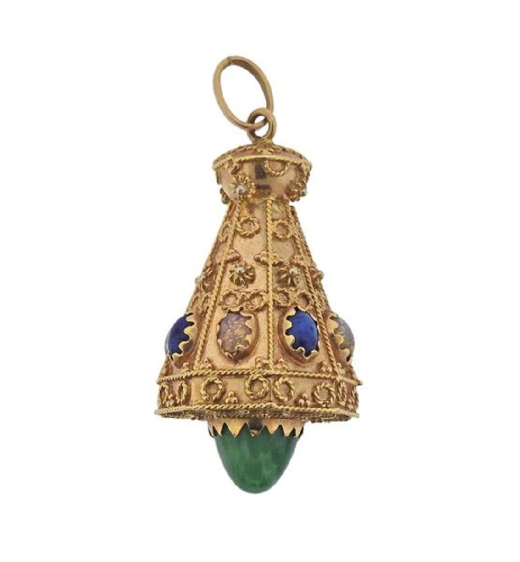 18K Gold Multi Gemstone Etruscan Pendant