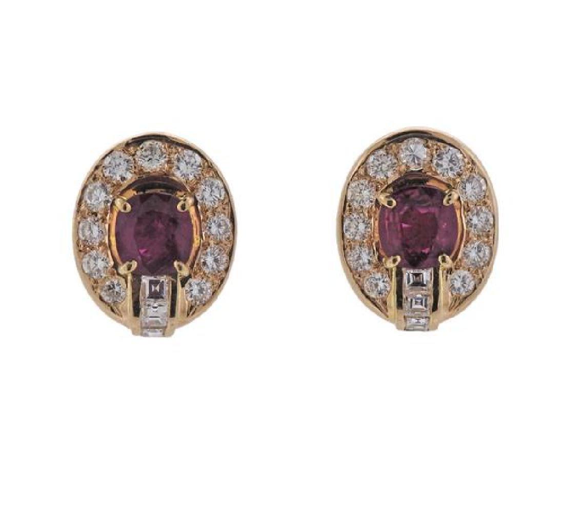 18K Gold Diamond Ruby Earrings