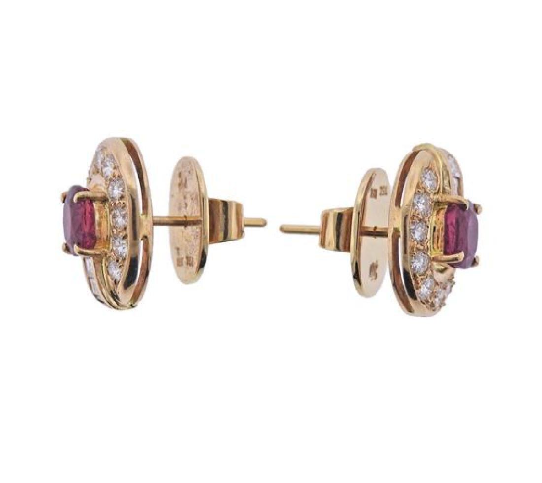 18K Gold Diamond Ruby Earrings - 2