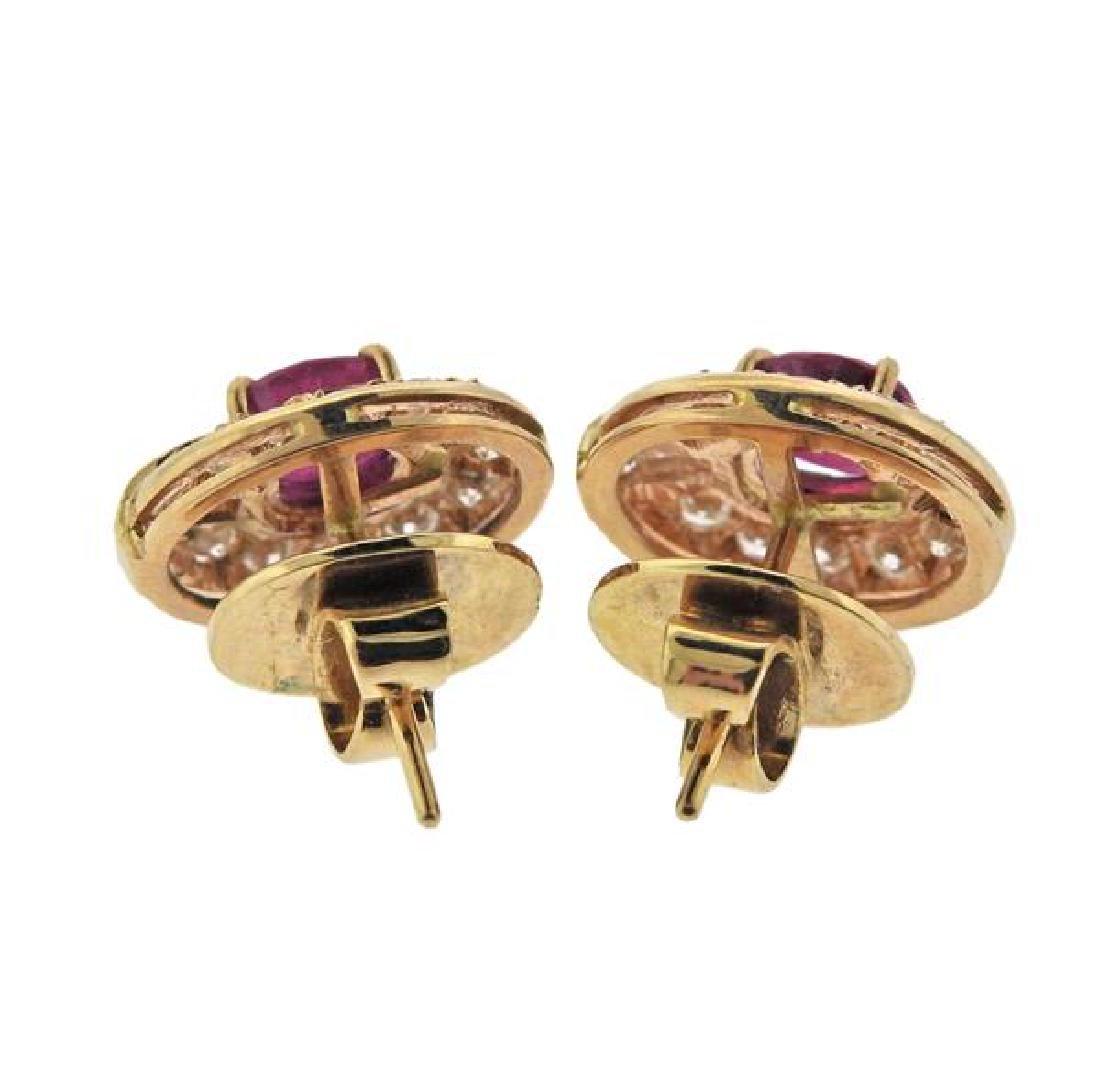 18K Gold Diamond Ruby Earrings - 3