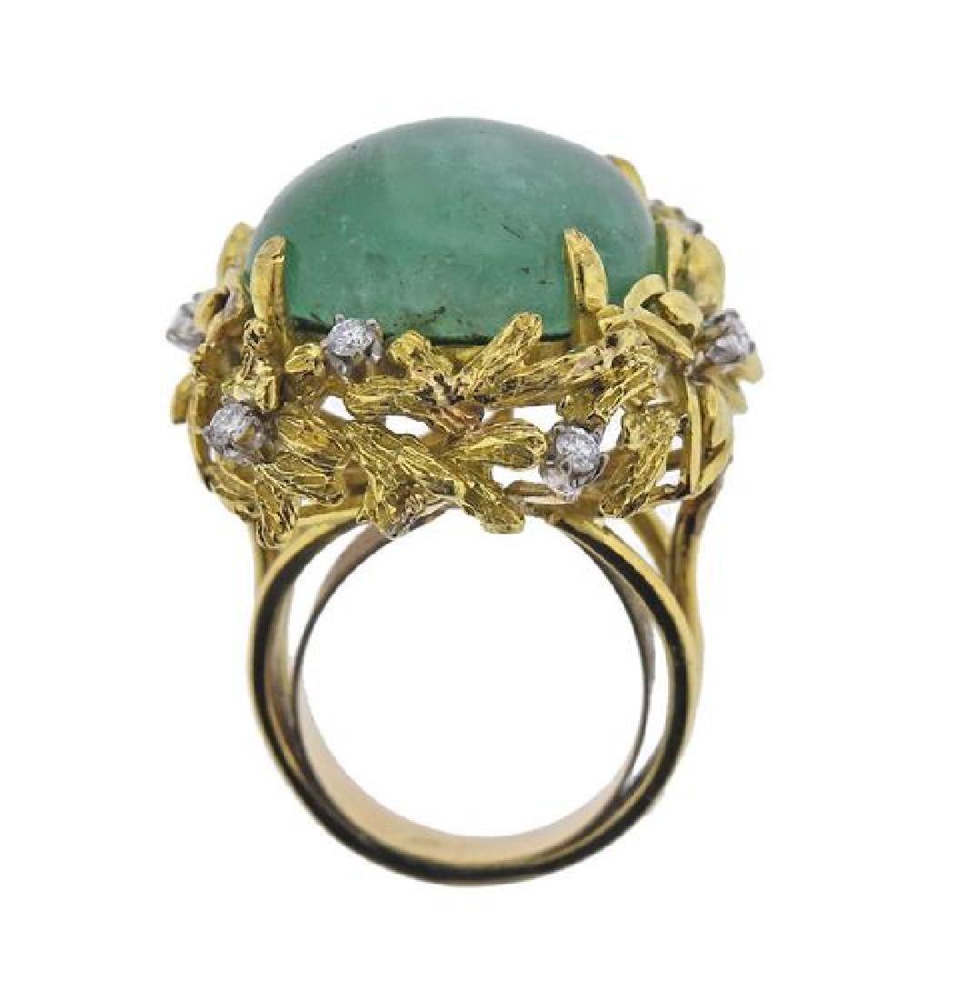 18K Gold Diamond Emerald Ring - 4