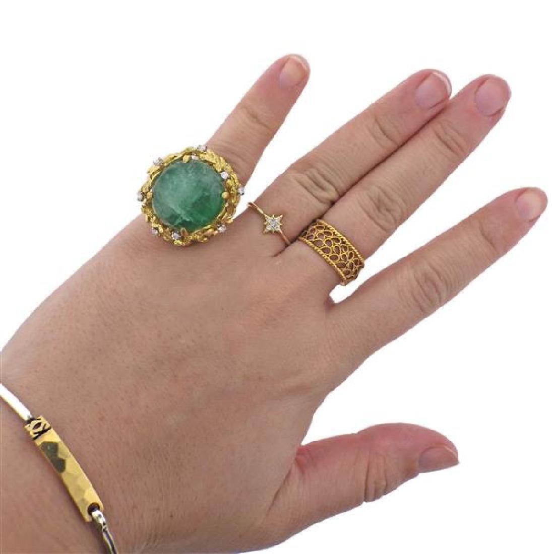 18K Gold Diamond Emerald Ring - 5