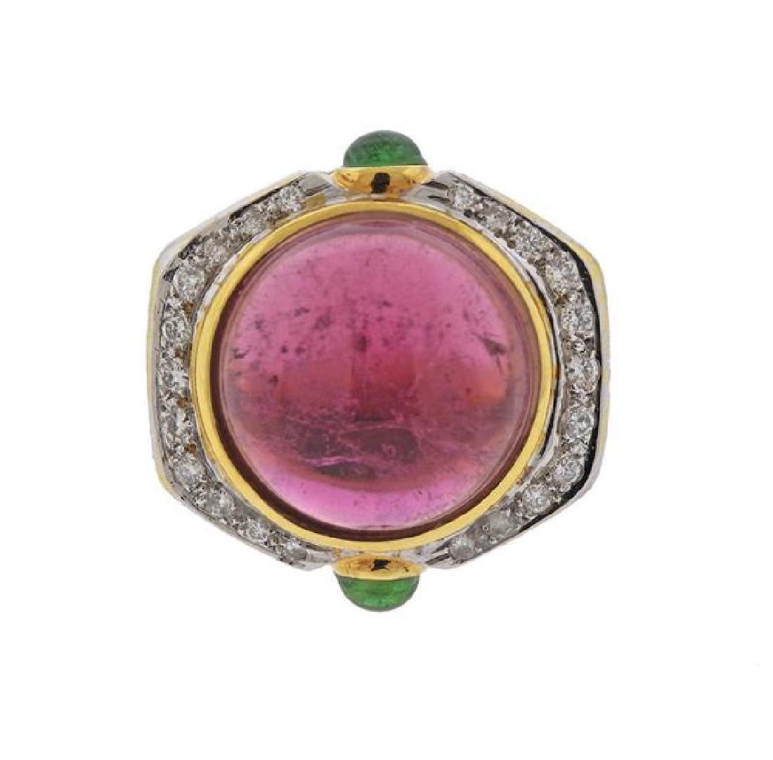14K Gold Diamond Tourmaline Peridot Dome Ring